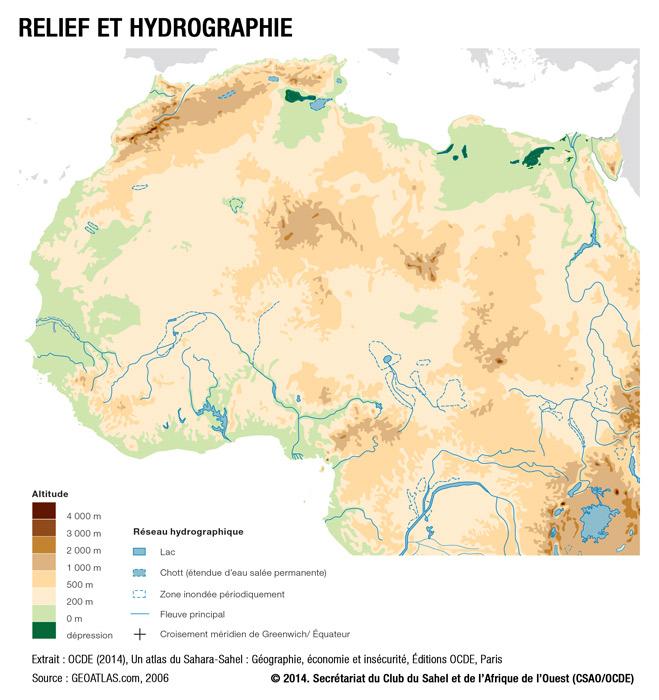 Carte De Lafrique Hydrographie.Relief Et Hydrographie West Africa Gateway Portail De L